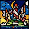 Wallas, Isola e Faro. Quadri fumetto colorati 90x90cm o altre misure su canvas o carta