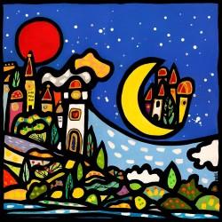 Wallas, Il Faro. Quadri fumetto colorati 90x90cm o altre misure su Canvas o Poster