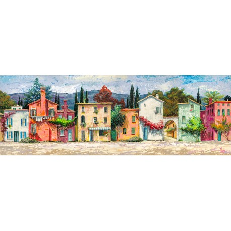 """Luigi Florio """"Paese Italiano"""" Home Decor Art Picture with Venice landscape, low and wide format"""