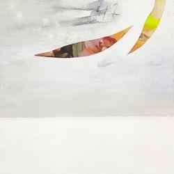 """Leonardo Sanna """"Papaveri sulla lavagna 2"""" formato quadrato papaveri bianchi, sfondo nero. Misure e supporti a scelta"""