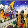 Wallas, downtown village.quadri moderni colorati 100x100 o altre misure su canvas o carta