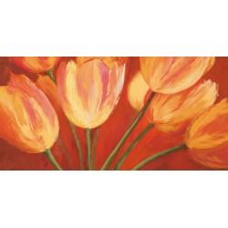 """Silvia Mei """"orange tulips""""- Quadro Floreale con gerbere gialle su canvas di cotone al 100%"""