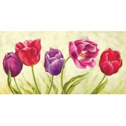 """Silvia Mei """"Tulipani danzanti""""- Quadro Floreale con gerbere gialle su canvas di cotone al 100%"""