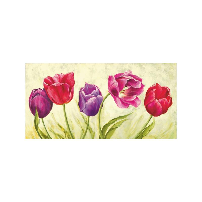 Quadro Moderno con Fiori tulipani colorati -Stampa su Tela di Cotone ...