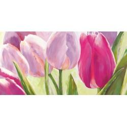 """Leonardo Sanna """"Tulipni""""- Quadro Floreale con gerbere gialle su canvas di cotone al 100%"""