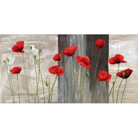 """Jenny Thomlinson """"country poppies""""- Quadro Floreale con papaveri su canvas di cotone al 100%"""