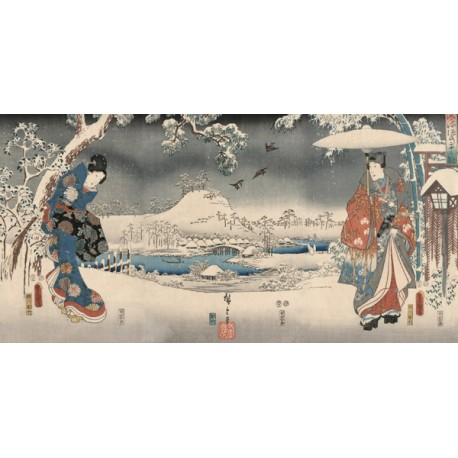 """Hiroshige""""Evening """"snowy landscape with a woman and a man, 1853.Riproduzione Originale"""