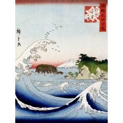 "Hokusai -""Mont Fuji derriere la mer agitee"