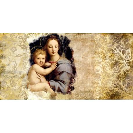 """Simon Roux """"Madonna del Candelabro (after Raffaello)"""" - Capezzale Moderno su Canvas da Artigianato Veneziano"""