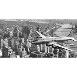"Anonimo ""Flying over Manhattan"" Quadro con Stampa Alta Risoluzione con New York in Misure Multiple e Grande Formato"