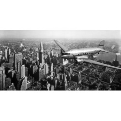 "Anonimo ""DC-4 over Manhattan"" Quadro con Stampa Alta Risoluzione con New York in Misure Multiple e Grande Formato"