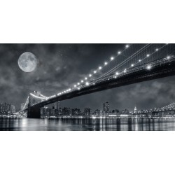 Janis Lacis Brooklyn Bridge at Night, New York City Quadro Stampa Alta Risoluzione