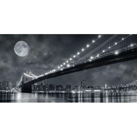 Janis Lacis Brooklyn Bridge at Night, New York City Quadro Stampa Alta Risoluzione