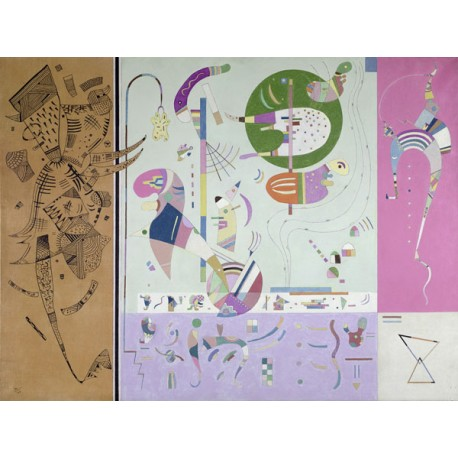Wassily Kandisky- Parties diverses Quadro Pronto con Stampa Fine Art per Soggiorno, Ufficio o altro