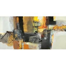 """Maurizio Piovan""""La Mietitura"""" Quadro Astratto per Soggiorno o altro in Bianco e Nero, Stampa Fine Art su Tela Canvas"""