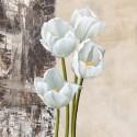 Natura I - jenny Thomslinson Quadro con Tulipani Bianchi Romantiche - Stampa d'Autore su Tela Cotone per Soggiorno o altro