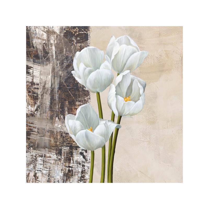 Stampa su Tela Shabby con tulipani bianchi per Soggiorno Ingresso Cucina