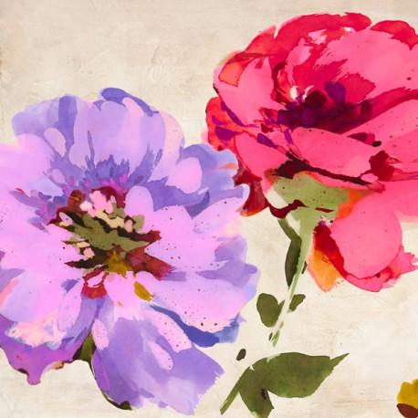 Colorful Jewel I- Kelly Parr Quadro con allegri fiori colorati - Stampa d'Autore su Tela Cotone per Soggiorno o altro