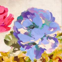 Colorful Jewel II Quadro con allegri fiori colorati - Stampa d'Autore su Tela Cotone per Soggiorno o altro