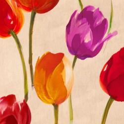 Tulip Funk - Luca Villa Quadro con Tulipani colorati allegri - Stampa d'Autore su Tela Cotone per Soggiorno o altro