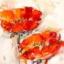 Papaveri dorati - Luigi Florio Quadro con papaver rossi sgargianti - Stampa d'Autore su Tela Cotone per Soggiorno o altro