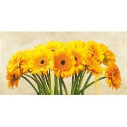 "Alex Vinci ""Gerbera Abstraction""- Quadro Floreale con gerbere gialle su canvas di cotone al 100%"