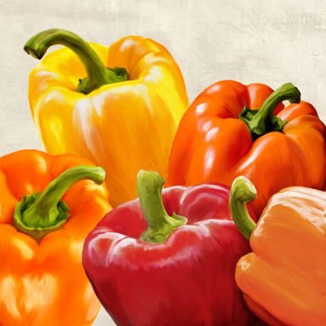 Peppers - Remo Barbieri Quadro con invitanti peperoni gialli rossi - Stampa d'Autore su Tela Cotone per Soggiorno o altro