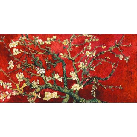 """Van Gogh""""Mandorlo in Fiore"""" variazione in rosso-Stampa d'Autore con Misure a Scelta e su Supporti Diversi"""