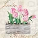 Dellal Remy - Jarden provencal Quadro con Rose Bianche Romantiche - Stampa d'Autore su Tela Cotone per Soggiorno o altro