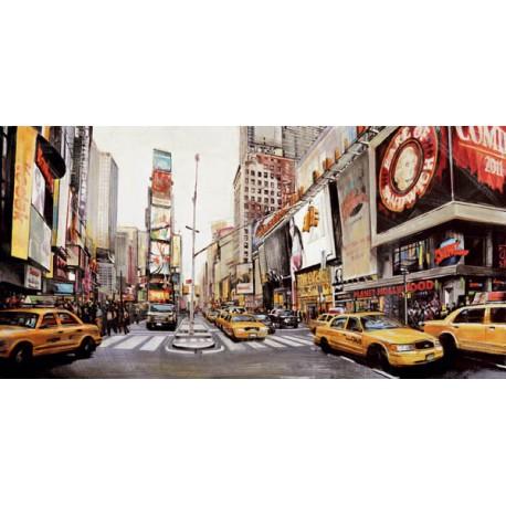 John B. Mannarini-Times Square Perspective. Quadro con Stampa Alta Risoluzione con New York in Misure Multiple e Grande Formato
