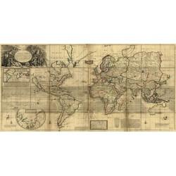 """""""Mappa del Mondo""""Herman Moll-Stampa Antica d'Autore su Supporti e Misure Varie"""