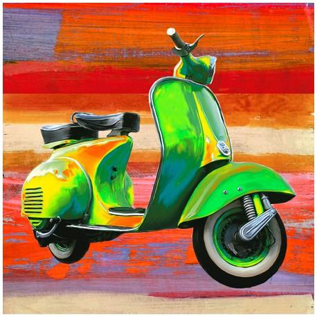 Pop Scooter 1-Teo Rizzardi.Quadro Moderno con Scooter in Formato quadrato e supporti vari