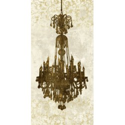 """Chandelier Panneau, 2""Remi Dellal.Big Printed picture with Vertical Chandelier in White"