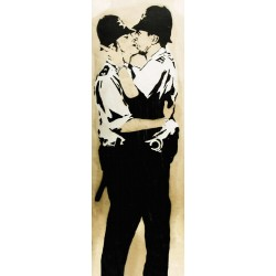 Bansky(attributed to)-Brighton, Graffiti Street Art Picture with Policemen kissing