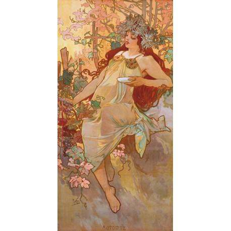 """Mucha""""Autunno""""-Quadro Classico d'Autore con Stampa Fine Art"""