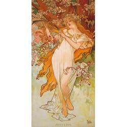 """Mucha""""Primavera""""-Quadro Classico d'Autore con Stampa Fine Art"""