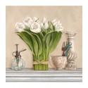 Dellal Remy - memories du jarden II Quadro con Rose Bianche Romantiche - Stampa d'Autore su Tela Cotone per Soggiorno o altro