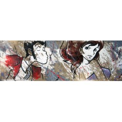 "Lupin III-""Kiss me"" .Original Licensed Handpainted picture on Raw Juta with Lupin & Fujiko"
