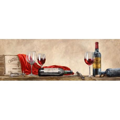 Sandro Ferrari-Grand Cru Wines quadro con vino rosso e bottiglie di vino