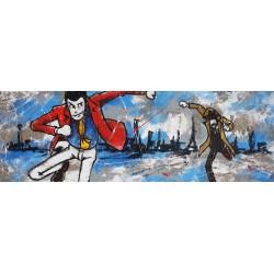 Zenigata e Lupin-Lupin III - Dipinto Originale a Mano su Juta