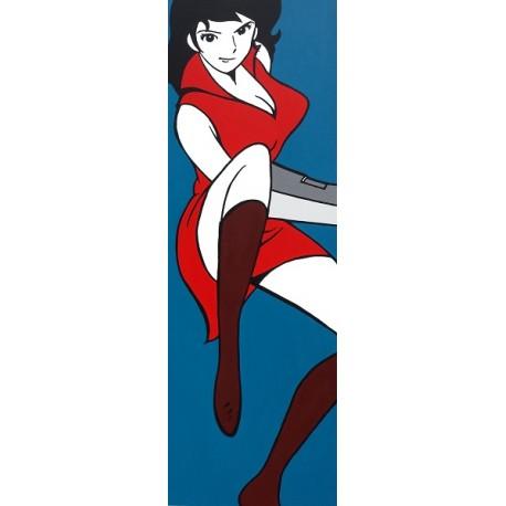 Fujiko Color Lupin III-Monkey Punch - Stampa verticale Ritoccata a Mano Originale
