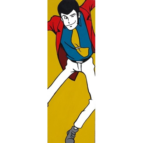 Color Lupin III-Monkey Punch - Stampa verticale Ritoccata a Mano Originale