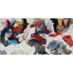 """Nino Mustica """"Pensieri in un interno""""-Quadro Astratto con Pennellate in Bianco e Nero, Stampa Fine Art su Tela Canvas"""