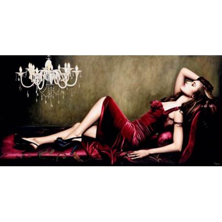 Red Velvet-Pierre Benson - Quadro Moderno Fashion con Donna stesa per Soggiorno o Camera