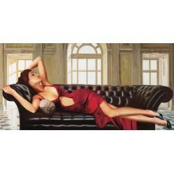 Divine, Pierre Benson - Quadro Moderno Fashion con Donna stesa per Soggiorno o Camera
