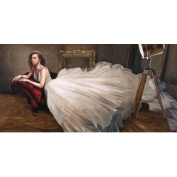 Il vestito bianco, Pierre Benson - Quadro Moderno Fashion con Donna stesa per Soggiorno o Camera