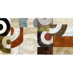"""Sandro Nava """"Carousel""""-Quadro Astratto con Pennellate in Bianco e Nero, Stampa Fine Art su Tela Canvas"""