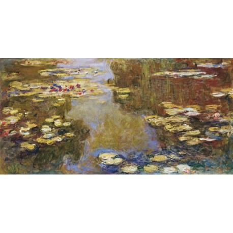 Claude Monet-The Lily Pond. Stampa ad Alta Risoluzione delle Classiche Ninfee su Tela Canvas e possibilità di Ritocco Materico