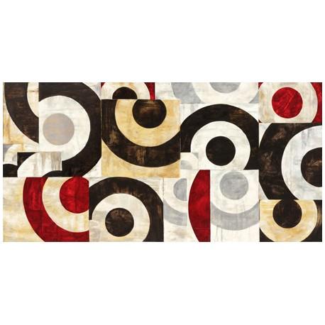 """Sandro Nava """"Connessione geometrica""""-Quadro Astratto con Pennellate in Bianco e Nero, Stampa Fine Art su Tela Canvas"""
