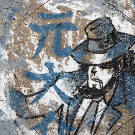 Jigen - Serie Lupin III Dipinto a mano su Juta grezza